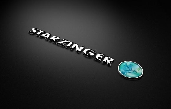 3D emblem of starzinger in shiny chrome