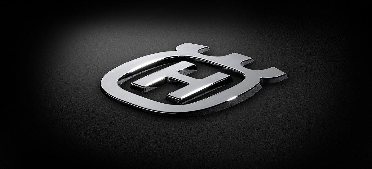 custom made 3D logo emblem of husqvarna in chrome