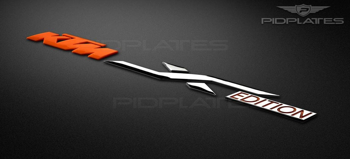 custom 3D emblem of KTM in chrome