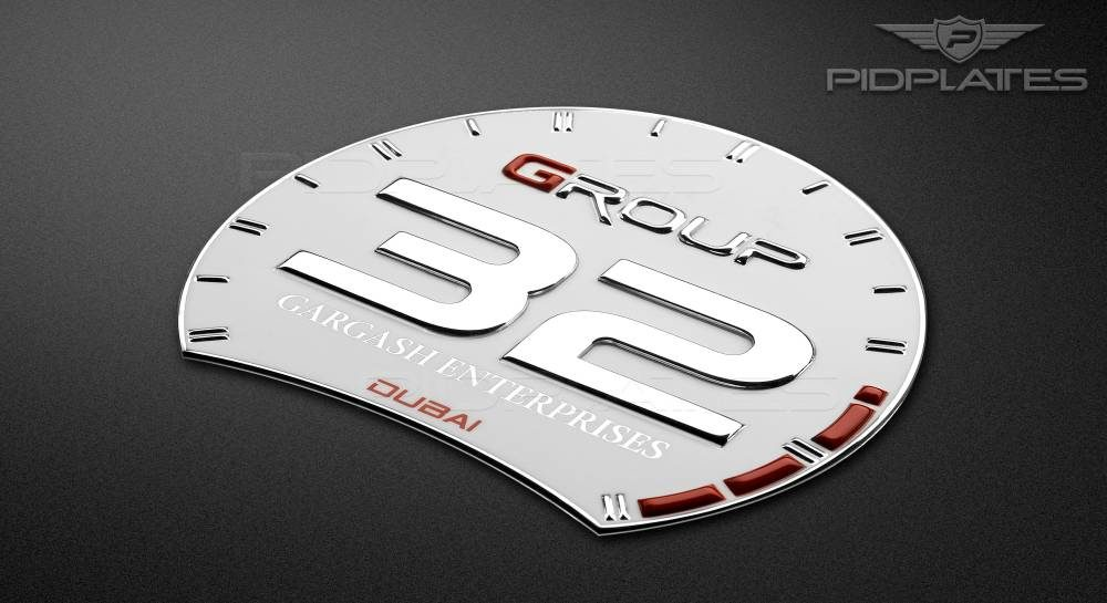 Custom 3D Metal Badge of Group 32 in grey & red